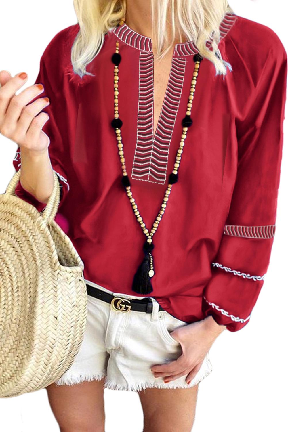 Red V Neck Bohemian Printed Lantern Sleeve Blouse