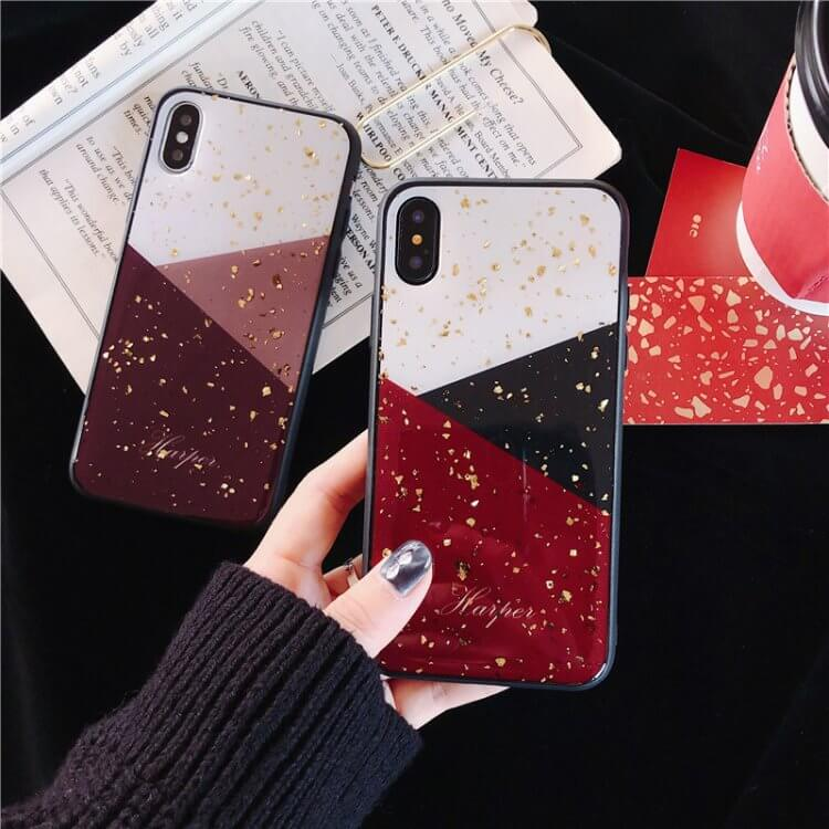 Geometric Color Block Gold Sequins Decorated iPhone Case