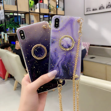 Sparkle Phone Cases With Gold Chain And Phone Stand For All Iphone-Iphone 6