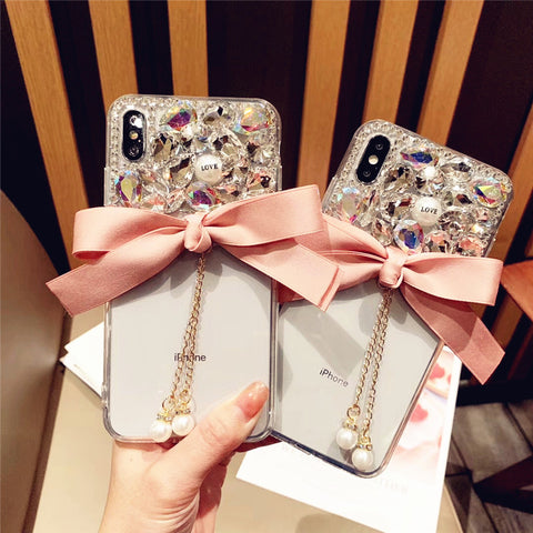 Bowknot Half Transparent & Rhinestone Phone Case for Samsung gallery 3
