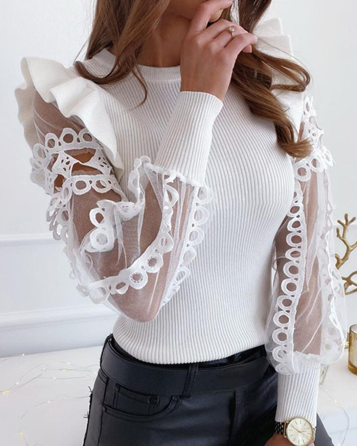 Sheer Sleeve Ribbed Knit Ruffle Trim Sweater gallery 3