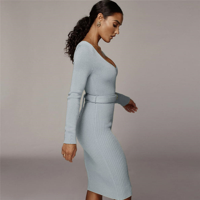 Scoop Neck Lace-Up Back Belted Skinny Midi Dress