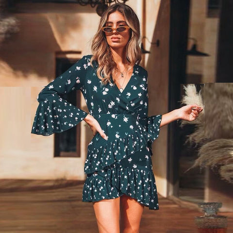 V-Neck Wrap Floral Print Flare Sleeve Frill Hem Dress