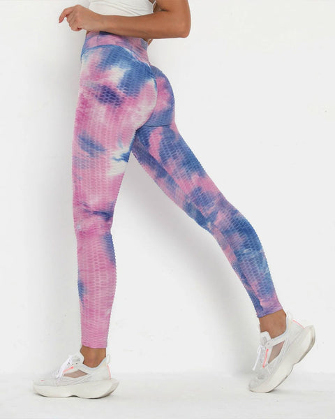 Lilac Tie Dye Textured Butt Lifting Ruched Leggings