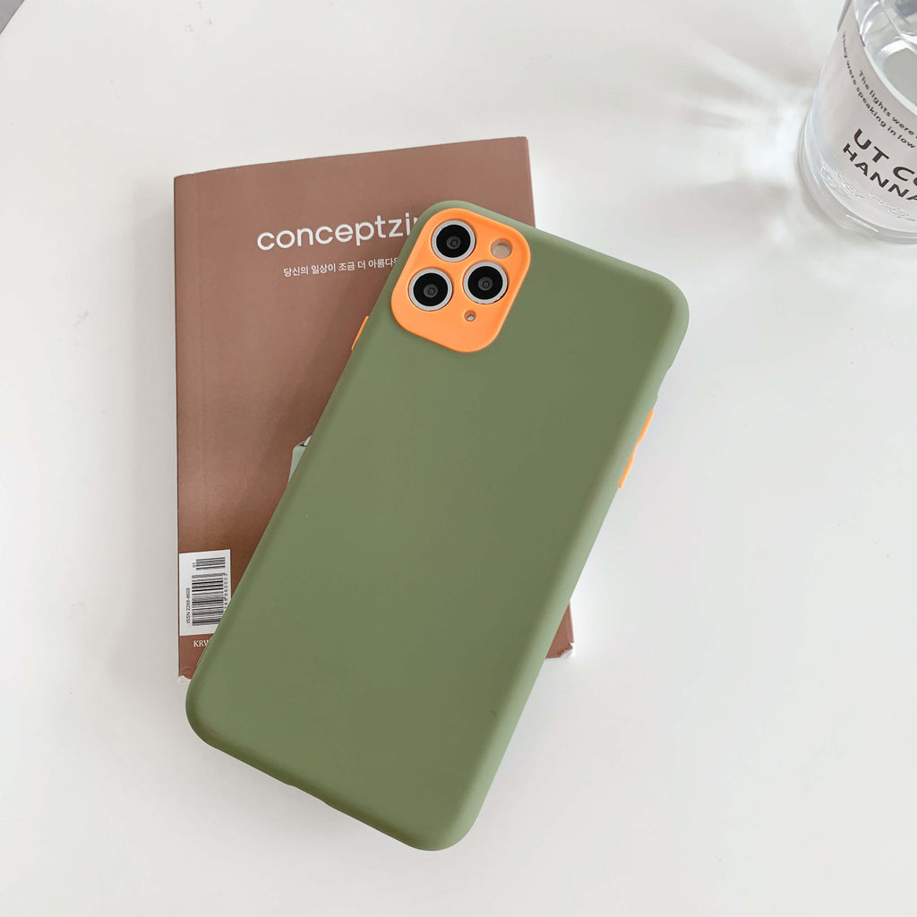 Green Contrast Color Liquid Silicone iPhone Case