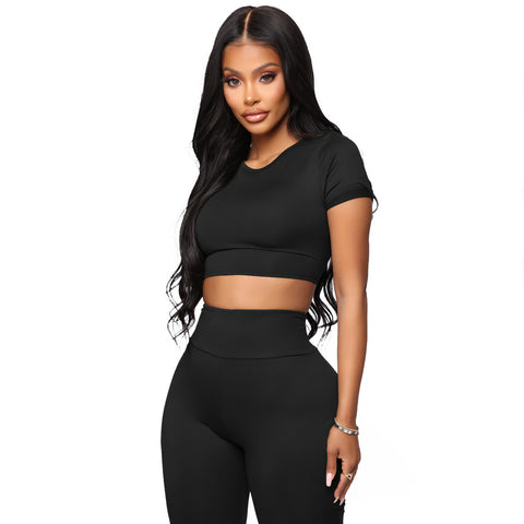 Round Neck Lace-Up Back High Waist Cropped Top & Short Set gallery 8