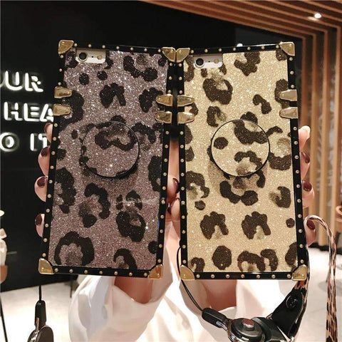 Luxury Leopard Pattern Phone Case for Samsung with Phone Holder and Hand Strap gallery 10
