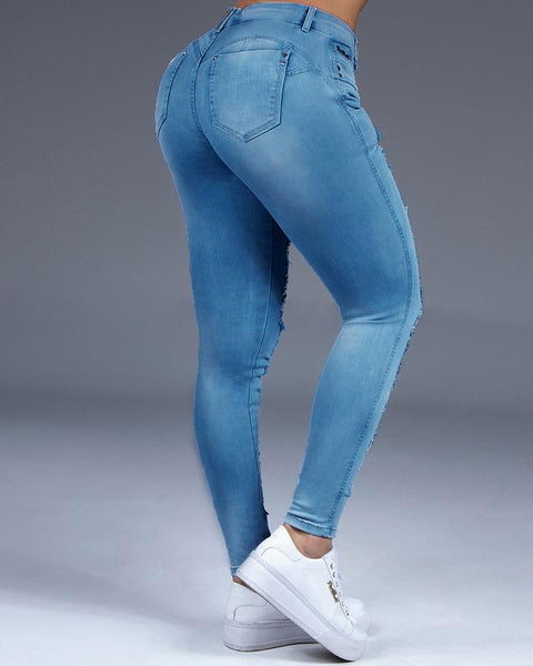 Extreme Distressed Stretch Butt Lifting Skinny Jeans gallery 9