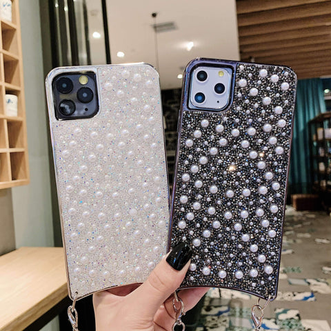 Sparkle Crystal Pearl Stud Phone Case for Samsung with Hand Strap gallery 3
