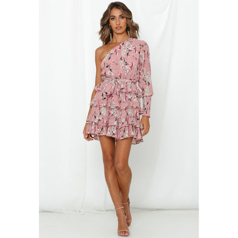 Floral Print Tied Waist Ruffle Layered Dress