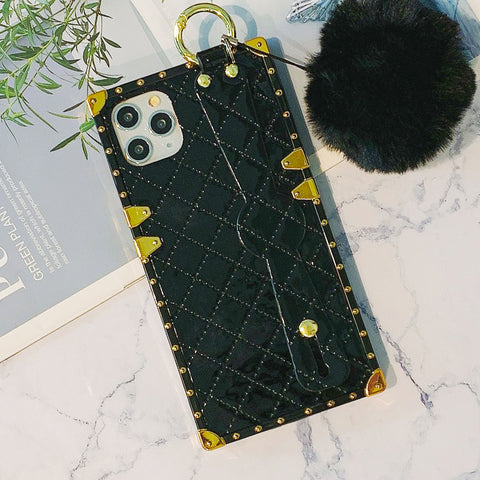 Rhombus Pattern Rivet Decorate Border iPhone Case with Wrist Strap and Pom-pom