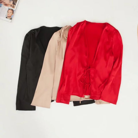 Satin Tie Front Long Sleeves Loose Cape Shirt gallery 4