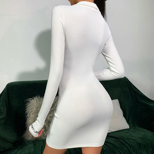 Ribbed High Neck Zipper Front Thumb Hole Mini Dress