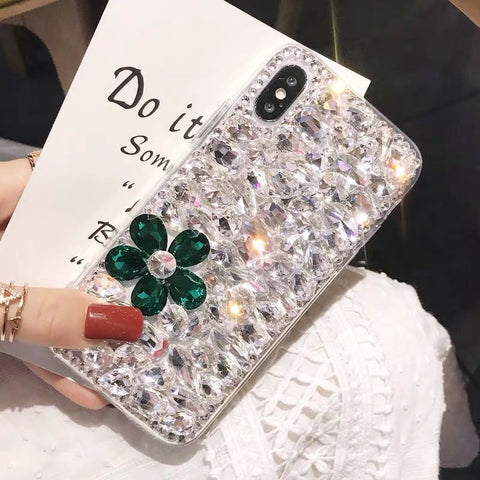 Clear Floral Full Rhinestone Cover Phone Case for Samsung gallery 3