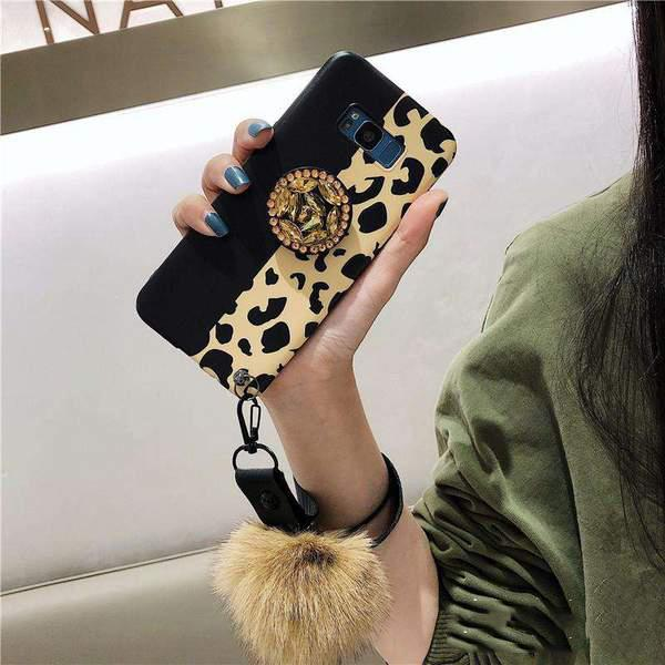 Leopard Pattern Iphone Case With Phone Holder For Samsung