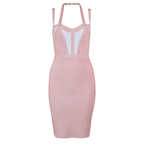 Peach Pink Strappy Halter Bandage Dress gallery 2