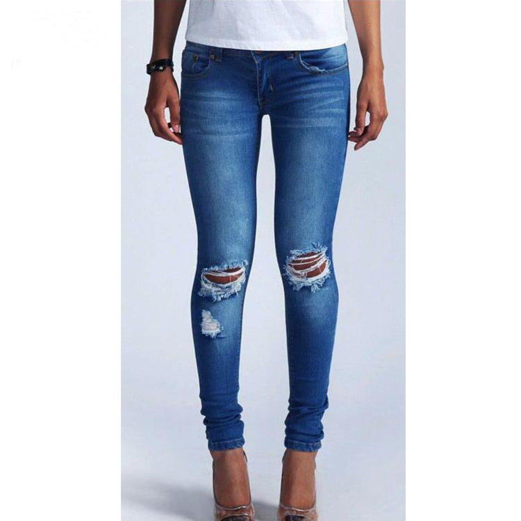 High Elastic Low Waist Ripped Knee Denim Jeans
