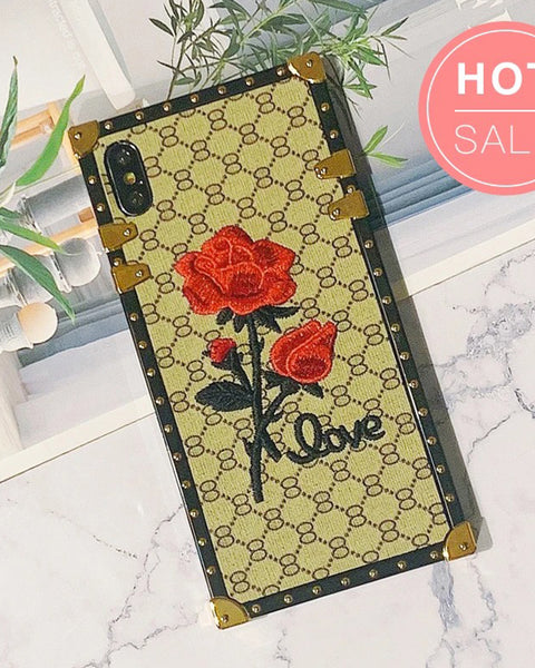 Rose Embroidered iPhone Case with Hand Strap