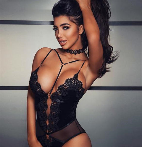 Sexy Strappy Cut-Out Teddy in Lace Detail