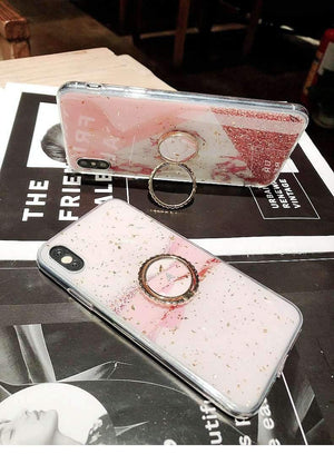Chic Marble Gold Foil Phone Case for Apple iPhone with Ring