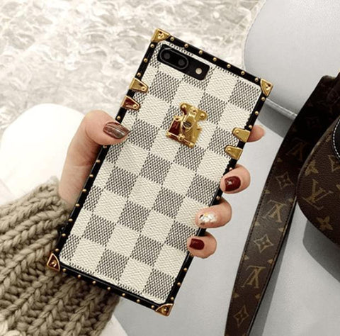 Plaid Leather Rivet Edge Phone Case for Samsung with Hand Strap gallery 8