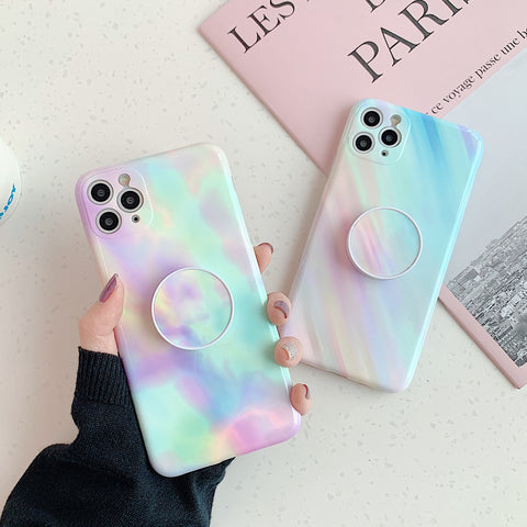Fashion Gradient Marble Silicone iPhone Case with Phone Holder
