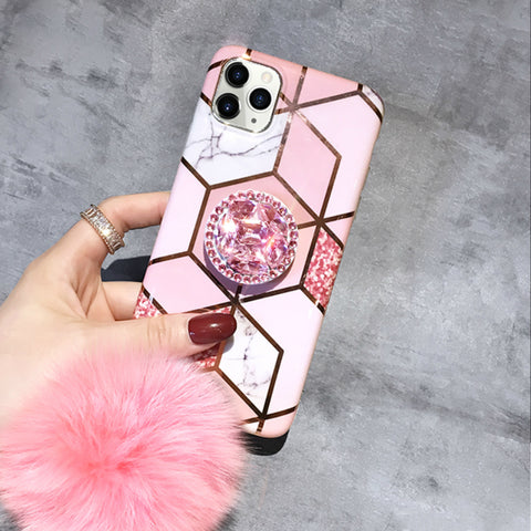 Pink Colorblock Marble Print iPhone Case with Phone Holder and Pom-pom
