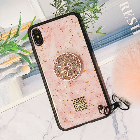 Glittering Trendy iPhone Case with Phone Holder and Pom-pom