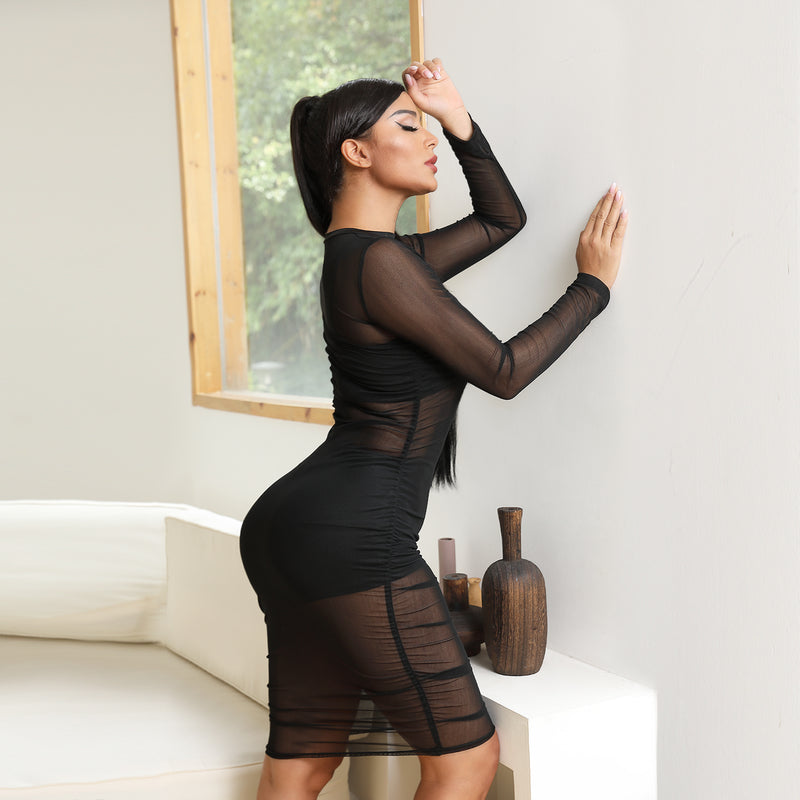 Sexy Mesh Sheer Ruched Lined Camisole & Shorts Bodycon Dress