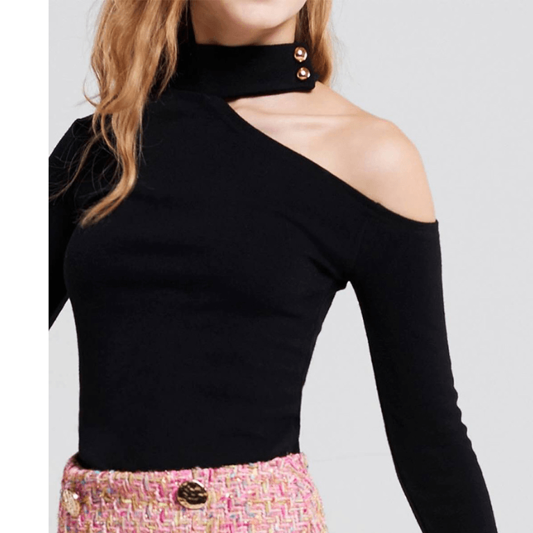4 Colors Cut Out Shoulder Bead Detail Fitted Knitwear