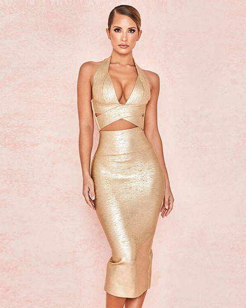 Bandage Halterneck Slinky Midi Dress Suit