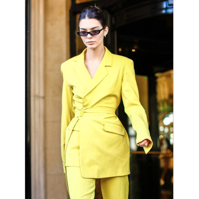 Mimosa Yellow Tie Waist Fitted  Blazer