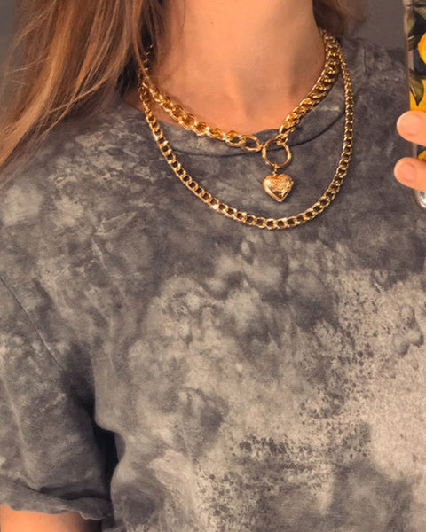 Punk Heart & Letter Layered Necklace