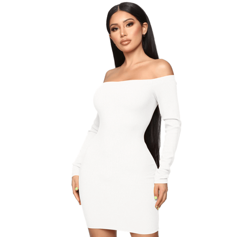 Shape Off Shoulder Ribbed Knitted Bodycon Dress gallery 5
