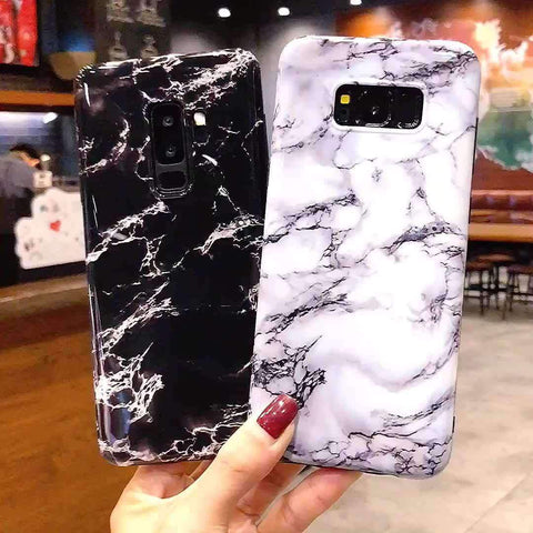 Anti-Fall Black&White Marble Phone Case for Samsung gallery 1