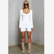Scoop Neck Long Sleeve Low Back Romper