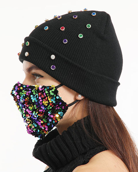 2pcs Rhinestone & Sequin Decor Face Mask & Beanie gallery 7