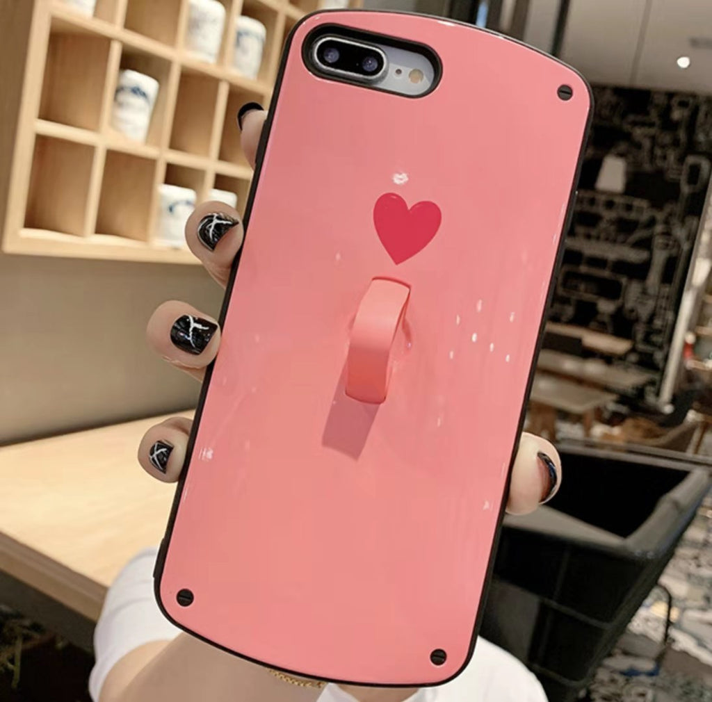 Summer Color Love Silicone Phone Case with Ring for All iPhone