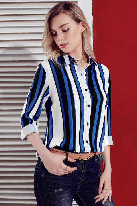 Blue White Striped Long Sleeve Button Down Shirt gallery 6