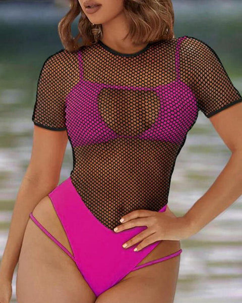Sheer Mesh Cutout One Piece Swimsuit gallery 6