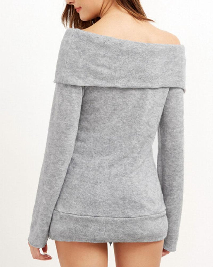 Off Shoulder Form Fitted Sweater gallery 6