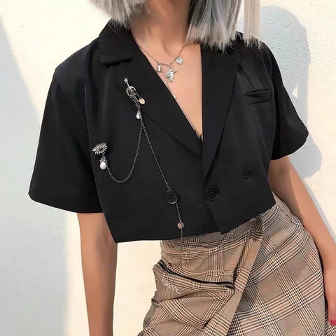 Loose Turn Back Collar Cropped Shirt gallery 1