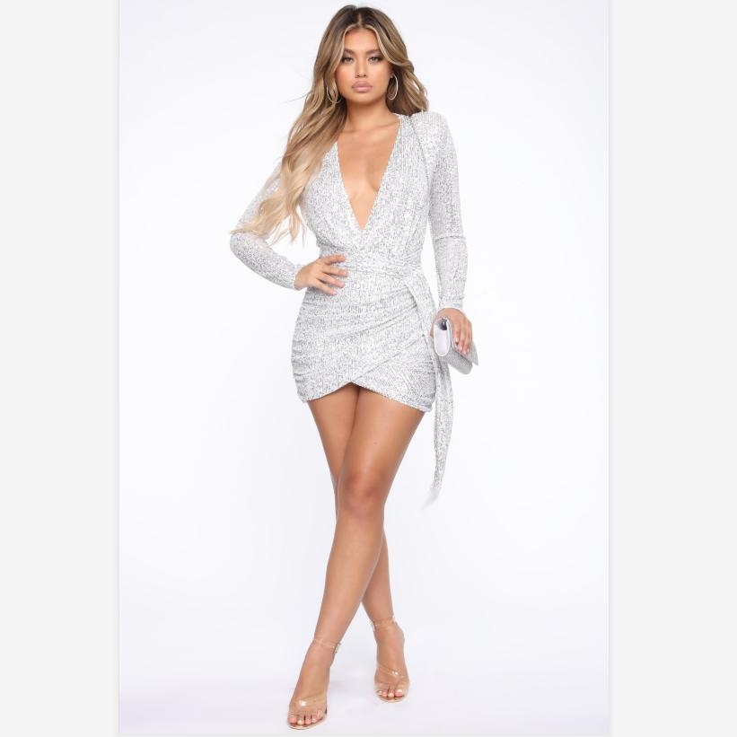 Metallic Plunge Sequin Ruched Wrap Detail Bodycon Dress