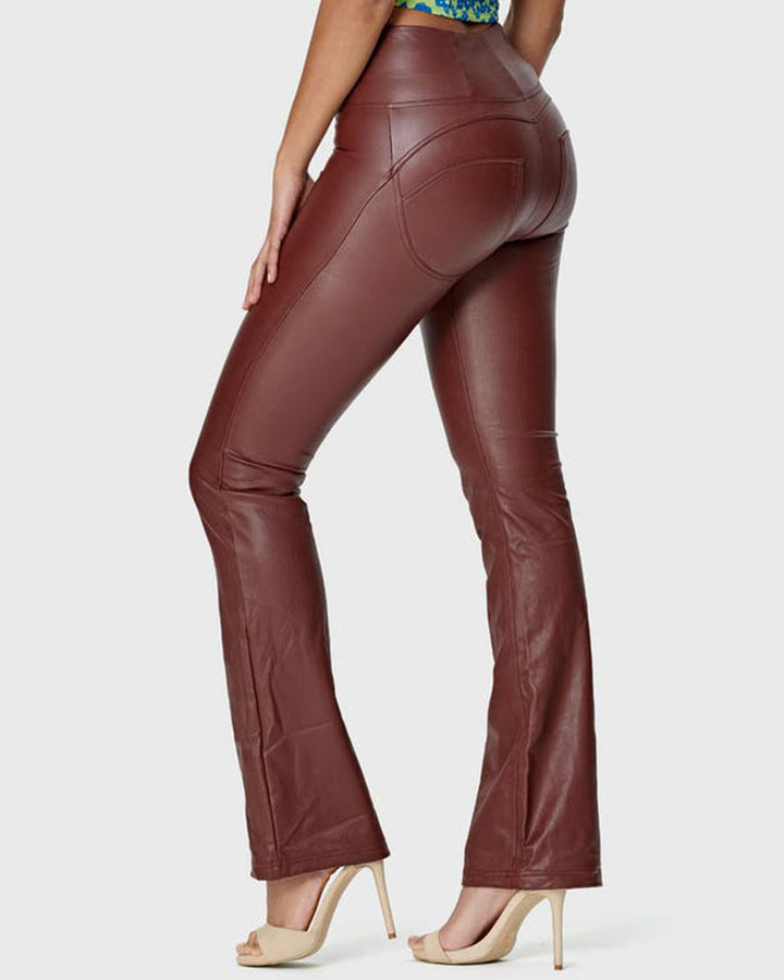 Zip Up Front Butt Lifting Flare PU Pants gallery 1