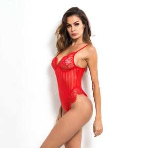 V Plunge Backless Shadow Stripes Lace Bodysuit