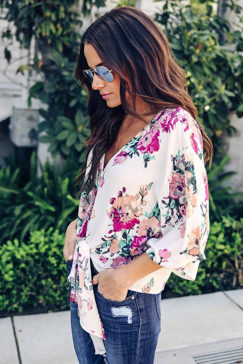 Floral Print Tie Front Kimono Sleeve Blouse gallery 4