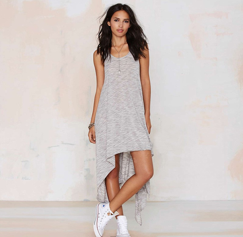 Sleeveless V Neck Loose Irregular Dress