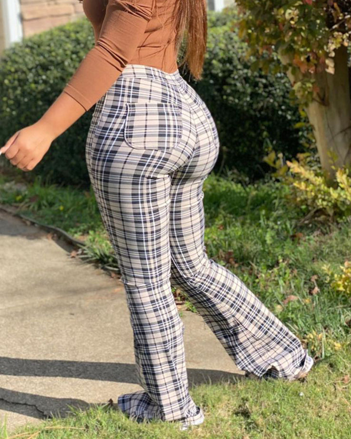 Plaid Zip Fly Patch Pocket Flare Leg Pants gallery 2