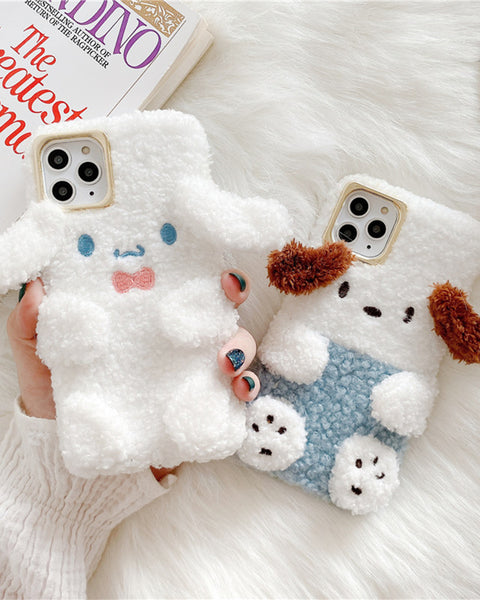 Cute Puppy-Shaped Fluffy iPhone Case