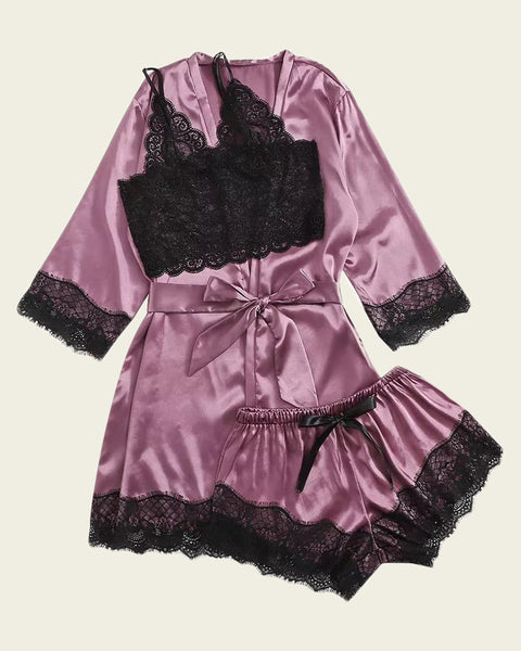 Sheer Lace Cami With Belted Robe & Shorts Night Set